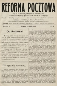 Reforma Pocztowa : organ fachowy galicyjskich urzędników i funkcyonaryuszy pocztowych wszech kategoryi. 1907, nr2