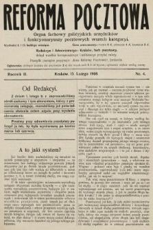 Reforma Pocztowa : organ fachowy galicyjskich urzędników i funkcyonaryuszy pocztowych wszech kategoryi. 1908, nr4