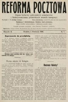 Reforma Pocztowa : organ fachowy galicyjskich urzędników i funkcyonaryuszy pocztowych wszech kategoryi. 1908, nr7