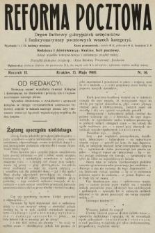 Reforma Pocztowa : organ fachowy galicyjskich urzędników i funkcyonaryuszy pocztowych wszech kategoryi. 1908, nr10