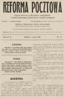 Reforma Pocztowa : organ fachowy galicyjskich urzędników i funkcyonaryuszy pocztowych wszech kategoryi. 1908, nr13