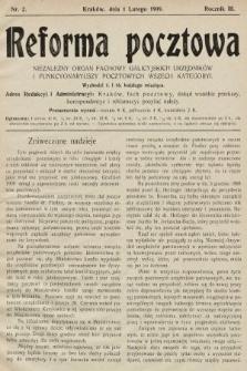 Reforma Pocztowa : niezależny organ fachowy galicyjskich urzędników i funkcyonariuszy pocztowych wszech kategoryi. 1909, nr2
