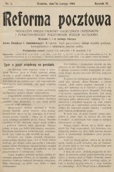 Reforma Pocztowa : niezależny organ fachowy galicyjskich urzędników i funkcyonariuszy pocztowych wszech kategoryi. 1909, nr3