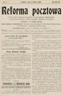 Reforma Pocztowa : niezależny organ fachowy galicyjskich urzędników i funkcyonariuszy pocztowych wszech kategoryi. 1909, nr5