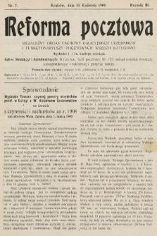 Reforma Pocztowa : niezależny organ fachowy galicyjskich urzędników i funkcyonariuszy pocztowych wszech kategoryi. 1909, nr7