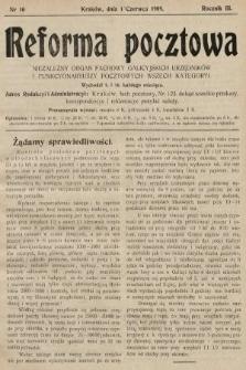 Reforma Pocztowa : niezależny organ fachowy galicyjskich urzędników i funkcyonariuszy pocztowych wszech kategoryi. 1909, nr10