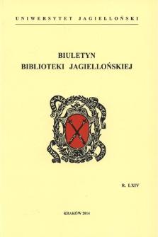 The Jagiellonian Library Bulletin. Vol. 64, 2014 [entirety]