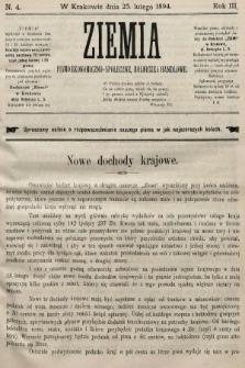 Ziemia : pismo ekonomiczno-społeczne, rolnicze i handlowe. 1894, nr4