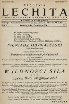 Lechita : tygodnik poświęcony sprawom ekonomiczno-społecznym. 1936, nr1