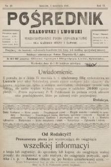 Pośrednik Krakowski i Lwowski : wszechstronne pismo informacyjne dla każdego stanu i zawodu. 1907, nr19