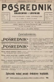 Pośrednik Krakowski i Lwowski : wszechstronne pismo informacyjne dla każdego stanu i zawodu. 1907, nr23