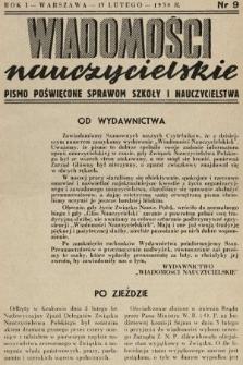 Wiadomości Nauczycielskie : pismo poświęcone sprawom szkoły i nauczycielstwa. 1937/1938, nr9
