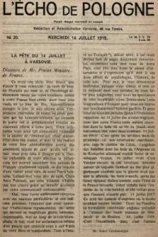 L'Écho de Pologne : tygodnik polityczno-społeczny, literacki i gospodarczy. 1919, nr20
