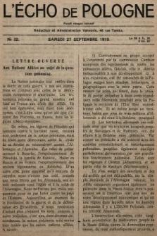 L'Écho de Pologne : tygodnik polityczno-społeczny, literacki i gospodarczy. 1919, nr32