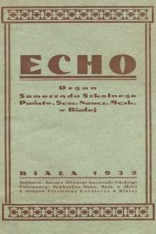 Echo : organ Samorządu Szkolnego Państw. Sem. Naucz. Męsk. w Białej. 1932/1933, nr1