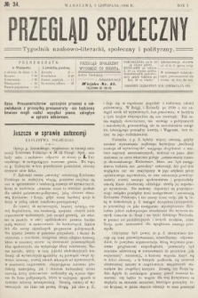 Przegląd Społeczny : tygodnik naukowo-literacki, społeczny i polityczny. 1906, nr34