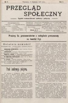 Przegląd Społeczny : tygodnik naukowo-literacki, społeczny i polityczny. 1907, nr17
