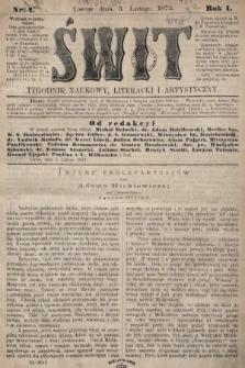 Świt : tygodnik naukowy, literacki i artystyczny. 1872, nr1