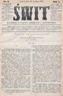 Świt : tygodnik naukowy, literacki i artystyczny. 1872, nr2