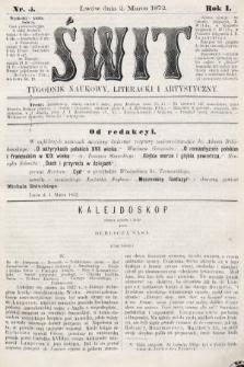 Świt : tygodnik naukowy, literacki i artystyczny. 1872, nr5