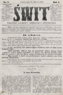Świt : tygodnik naukowy, literacki i artystyczny. 1872, nr7