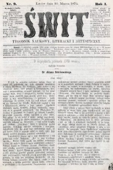 Świt : tygodnik naukowy, literacki i artystyczny. 1872, nr9