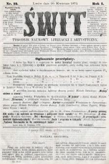 Świt : tygodnik naukowy, literacki i artystyczny. 1872, nr12