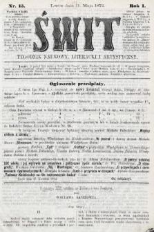 Świt : tygodnik naukowy, literacki i artystyczny. 1872, nr15