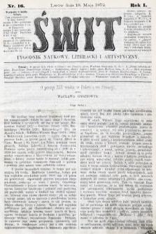 Świt : tygodnik naukowy, literacki i artystyczny. 1872, nr16