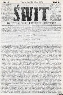 Świt : tygodnik naukowy, literacki i artystyczny. 1872, nr17