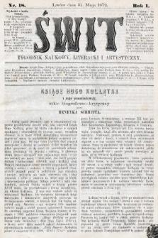 Świt : tygodnik naukowy, literacki i artystyczny. 1872, nr18