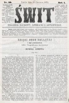 Świt : tygodnik naukowy, literacki i artystyczny. 1872, nr20