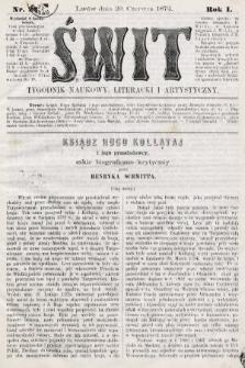 Świt : tygodnik naukowy, literacki i artystyczny. 1872, nr22