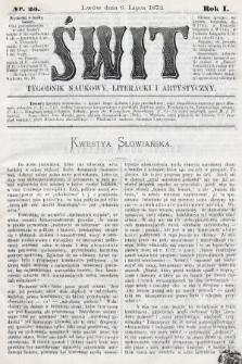 Świt : tygodnik naukowy, literacki i artystyczny. 1872, nr23