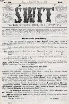 Świt : tygodnik naukowy, literacki i artystyczny. 1872, nr26