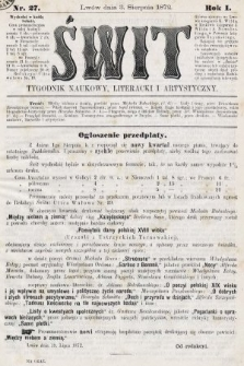 Świt : tygodnik naukowy, literacki i artystyczny. 1872, nr27