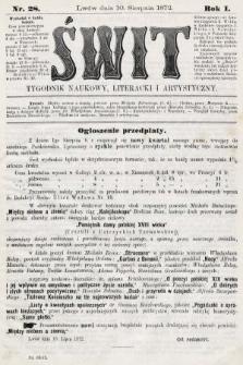 Świt : tygodnik naukowy, literacki i artystyczny. 1872, nr28