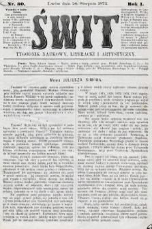 Świt : tygodnik naukowy, literacki i artystyczny. 1872, nr30