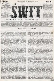 Świt : tygodnik naukowy, literacki i artystyczny. 1872, nr31