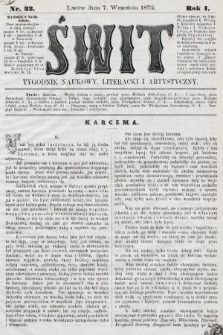 Świt : tygodnik naukowy, literacki i artystyczny. 1872, nr32