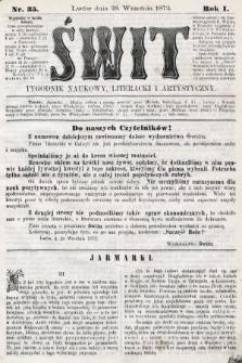 Świt : tygodnik naukowy, literacki i artystyczny. 1872, nr35