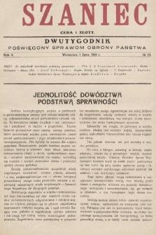 Szaniec : dwutygodnik poświęcony sprawom obrony Państwa. 1928, nr13