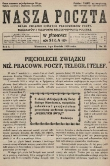 Nasza Poczta : organ Związku Niższych Pracowników Poczt, Telegrafów i Telefonów Rzeczypospolitej Polski[!]. 1929, nr12