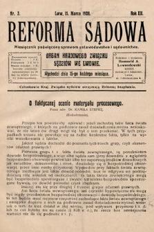 Reforma Sądowa : miesięcznik poświęcony nowym ustawom procesowym. 1908, nr3