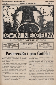 Dzwon Niedzielny : ilustrowany tygodnik katolicki. 1927, nr39