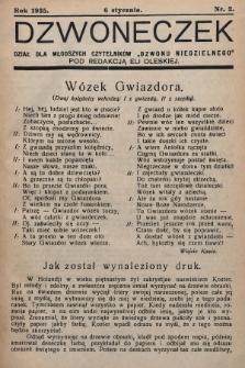 """Dzwoneczek : dział dla młodszych czytelników """"Dzwonu Niedzielnego"""". 1935, nr2"""