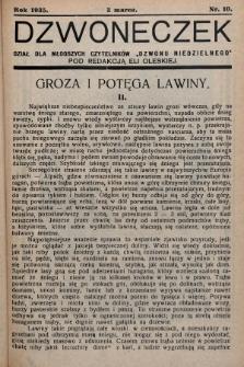 """Dzwoneczek : dział dla młodszych czytelników """"Dzwonu Niedzielnego"""". 1935, nr10"""
