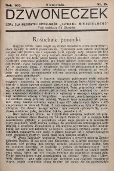 """Dzwoneczek : dział dla młodszych czytelników """"Dzwonu Niedzielnego"""". 1935, nr15"""