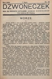 """Dzwoneczek : dział dla młodszych czytelników """"Dzwonu Niedzielnego"""". 1935, nr28"""