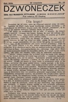 """Dzwoneczek : dział dla młodszych czytelników """"Dzwonu Niedzielnego"""". 1935, nr40"""